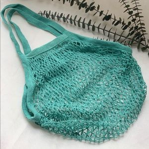 Reusable cotton string net bag fo grocery shopping